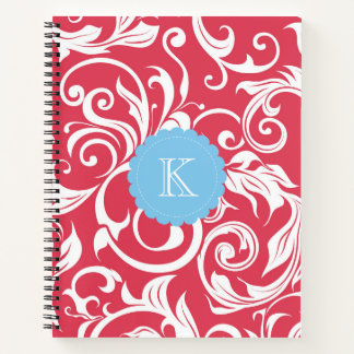 Bright Red and Blue Floral Scroll Monogram Notebook