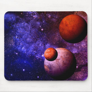 Bright Red And Blue Space Scene Mouse Pad