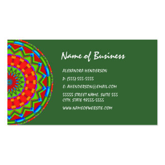 Bright Red and Green Latin Inspired Zigzag Mandala Double-Sided Standard Business Cards (Pack Of 100)