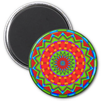Bright Red and Green Latin Inspired Zigzag Mandala Magnet