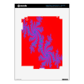 Bright Red and Purple Fractal Design Decal For iPad 3