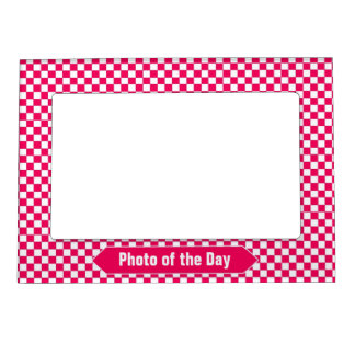 Bright Red and White Checkered Custom Photo Magnetic Picture Frame