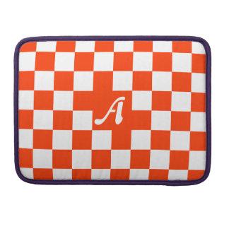 Bright Red and White Checkered Monogram MacBook Pro Sleeves