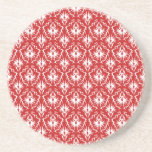 Bright Red and White Damask Pattern. Drink Coasters