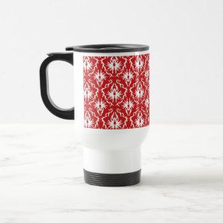 Bright Red and White Damask Pattern. Coffee Mug