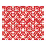 Bright Red and White Damask Pattern. Full Color Flyer