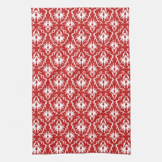 Bright Red and White Damask Pattern. Hand Towel
