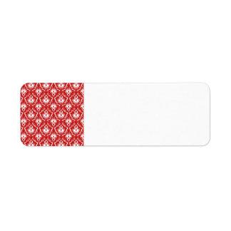 Bright Red and White Damask Pattern. Return Address Label