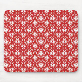 Bright Red and White Damask Pattern. Mouse Pad