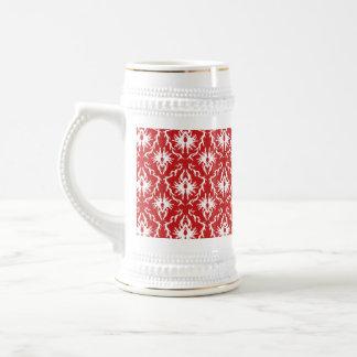 Bright Red and White Damask Pattern. Mugs