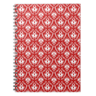 Bright Red and White Damask Pattern. Notebook