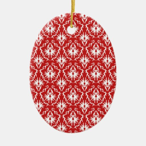 Bright Red and White Damask Pattern. Christmas Ornament