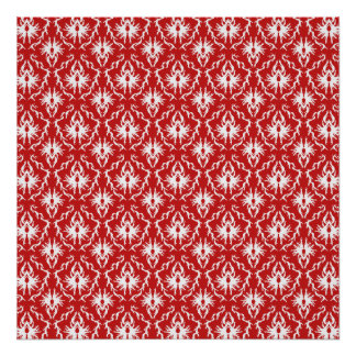 Bright Red and White Damask Pattern. Posters