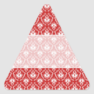 Bright Red and White Damask Pattern. Triangle Sticker