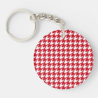 Bright Red and White Houndstooth Pattern Keychain
