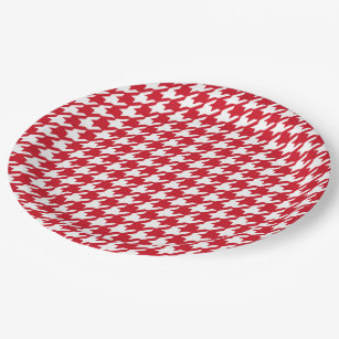Bright Red and White Houndstooth Pattern Paper Plate  sc 1 st  Zazzle & Dog Tooth Pattern Plates | Zazzle