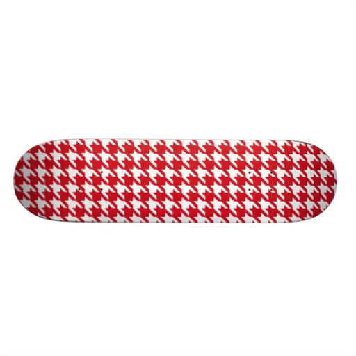 Bright Red and White Houndstooth Pattern Skate Board Deck