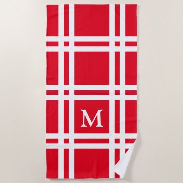 Beach Themed Bright Red and White Lattice Monogram Beach Towel