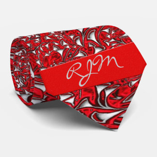 Bright Red and White Paisley Print with Monogram Tie