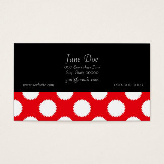Bright Red and White Polka Dot Pattern Business Card