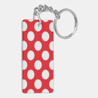 Bright Red and White Polka Dot Pattern Double-Sided Rectangular Acrylic Keychain