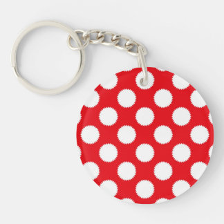 Bright Red and White Polka Dot Pattern Single-Sided Round Acrylic Keychain