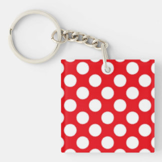 Bright Red and White Polka Dot Pattern Single-Sided Square Acrylic Keychain