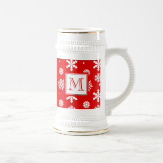 Bright Red and White Snowflakes Pattern 1 with Mon Beer Stein