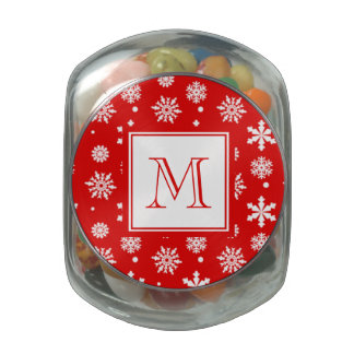 Bright Red and White Snowflakes Pattern 1 with Mon Jelly Belly Candy Jars