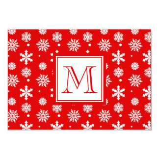 Bright Red and White Snowflakes Pattern 1 with Mon Card
