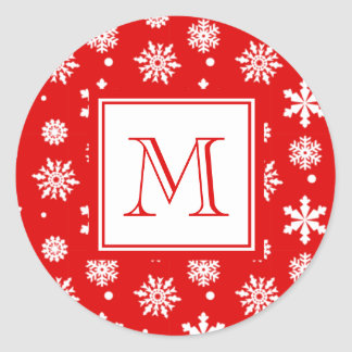 Bright Red and White Snowflakes Pattern 1 with Mon Classic Round Sticker