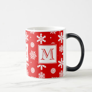 Bright Red and White Snowflakes Pattern 1 with Mon Magic Mug