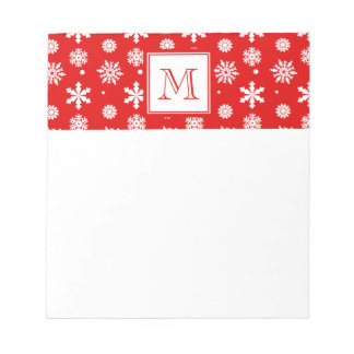 Bright Red and White Snowflakes Pattern 1 with Mon Notepad
