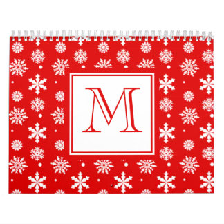 Bright Red and White Snowflakes Pattern 1 with Mon Calendar