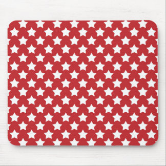 Bright Red and White Stars; Starry Pattern Mouse Pad
