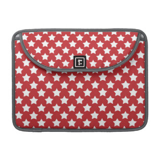 Bright Red and White Stars; Starry Pattern Sleeves For MacBooks
