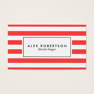 Bright red and white stripes business card