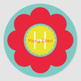 Bright Red and Yellow Flower on Teal Monogram Classic Round Sticker
