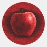 Bright Red Apple Classic Round Sticker