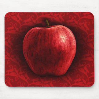 Bright Red Apple Mouse Pad