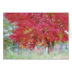 Bright Red Autumn Maple Leaves In The Meadow card