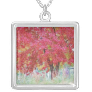 Bright Red Autumn Maple Leaves In The Meadow Square Pendant Necklace