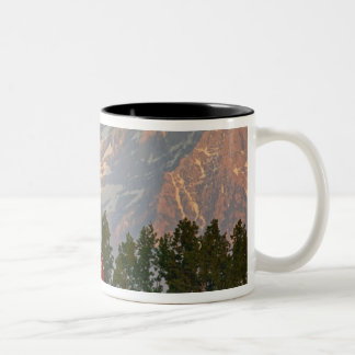 Bright red barn against Mission Mountains in Two-Tone Coffee Mug