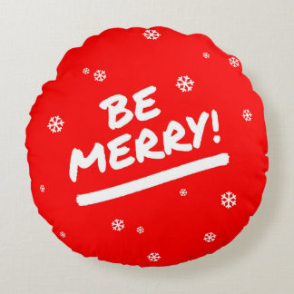 Bright Red Be Merry Marker Pen Christmas Snowflake Round Pillow
