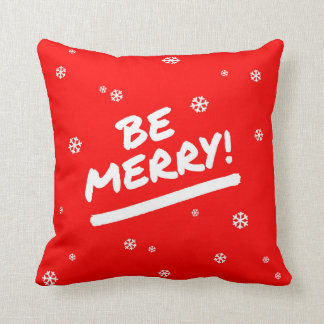 Bright Red Be Merry Marker Pen Christmas Snowflake Throw Pillow