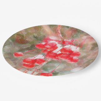 BRIGHT RED BERRIES WITH SNOW DANGLING FROM STEM PAPER PLATE