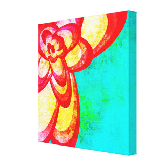 Bright Red/Blue Abstract Flower Design Canvas Prints