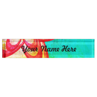 Bright Red/Blue Abstract Flower Design Name Plate