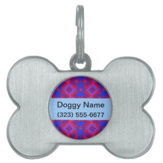 Bright red blue geometric pattern pet tag