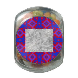 Bright red blue geometric pattern photoframe jelly belly candy jar
